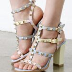 Högklackat Rockstud Multi-color Sandals 02-CU0322